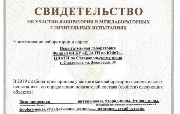 Участие филиала ФГБУ «ЦЛАТИ по ЮФО» – ЦЛАТИ по Ставропольскому краю в межлабораторных сличительных испытаниях.